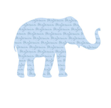 My Name Elephant Removable Wall Stickers in blue