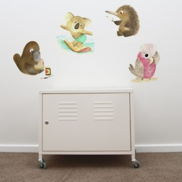 Native Animals removable wall stickers behind a cabinet