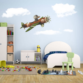 Plane with Dog removable wall stickers in child's bedroom