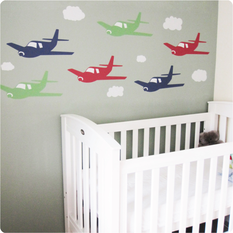 Planes removable wall decals in nursery room