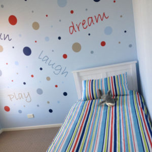 Polkadots and Words removable wall stickers in child's room