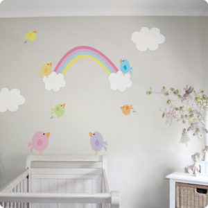 Rainbow Clouds & Birds removable wall stickers