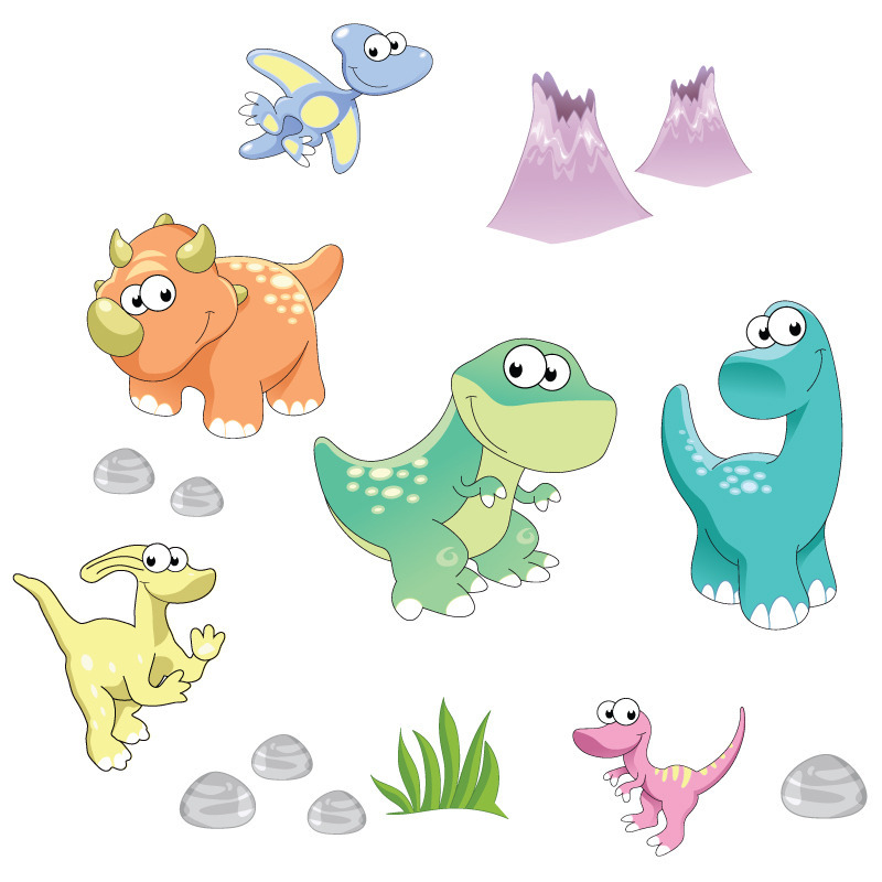 Dinosaurs & Friend from The Wall Sticker Company in bright colours
