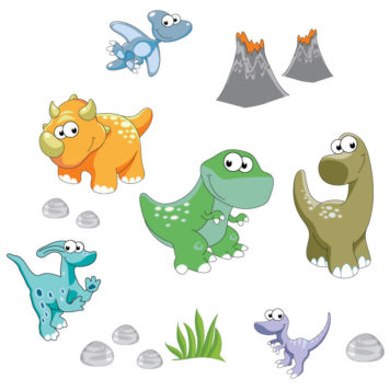 Dinosaurs and friend removable wall stickers