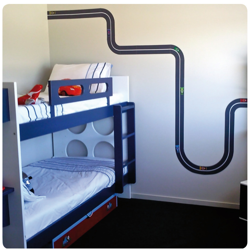Racing Track Removable Wall Stickers in boy's bedroom