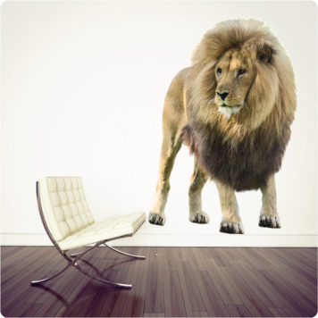 Real life lion removable wall sticker behind a chair