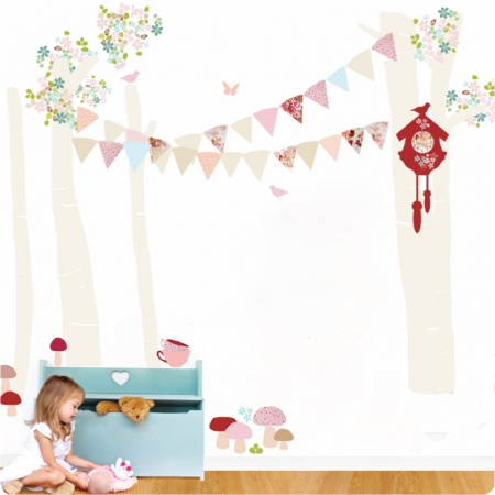 Forest Scene Removable Wall stickers with a girl playing in front
