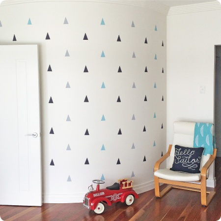 Triangle removable wall stickers decals in boys room