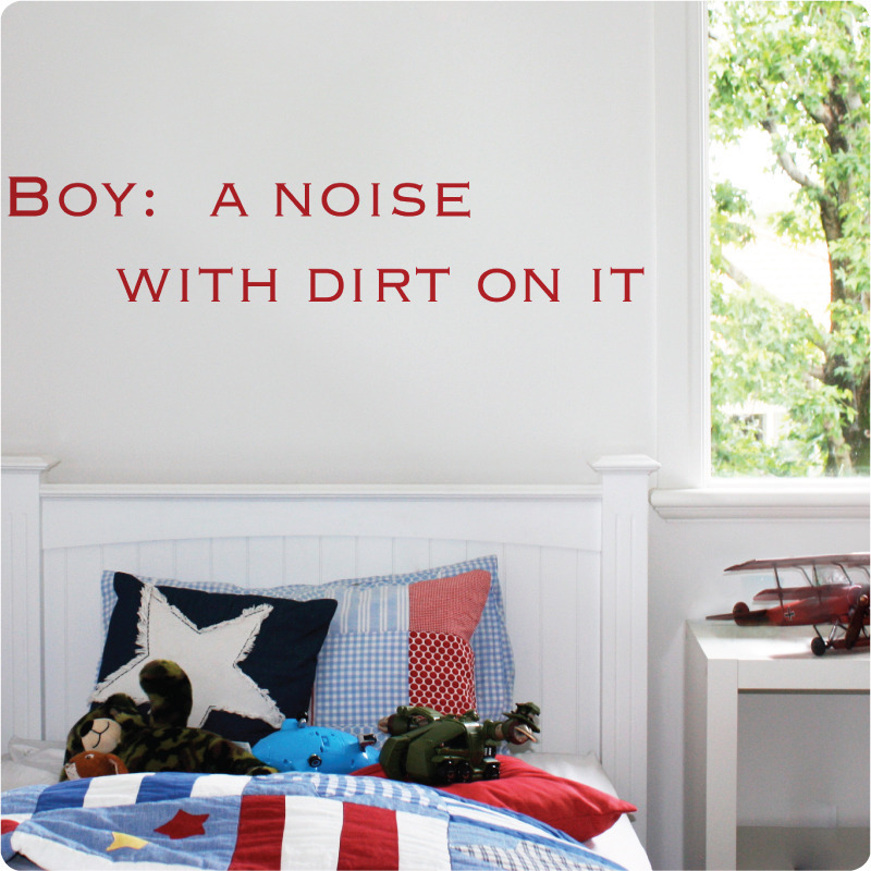 Boy Definition removable quote wall stickers in child's room
