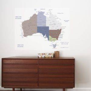 Australia Poster for boys room removable wall sticker behind a cabinet