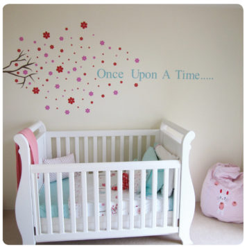 Blossom removable wall stickers behind the crib