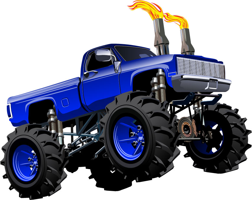 Monster Truck removable wall stickers for boys rooms in blue