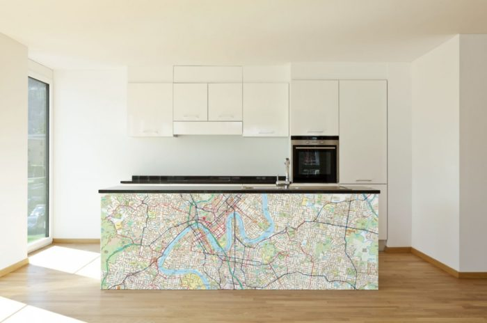 removable wall stickers Melway street map customised in kitchen