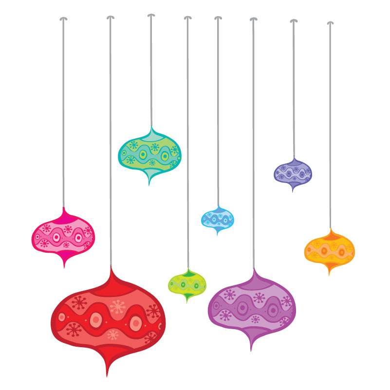 Christmas baubels removable wall stickers in bright colours
