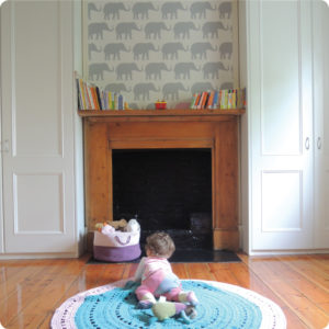 Elephants removable wallpaper Australia for nursery behind the chimney