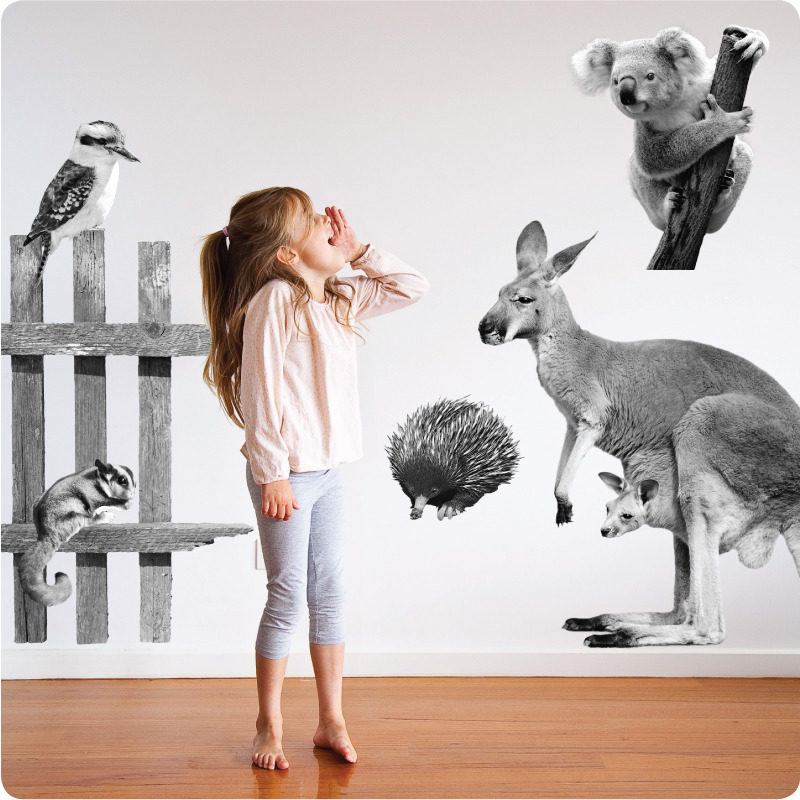 Australian animals removable wall stickers in black and white
