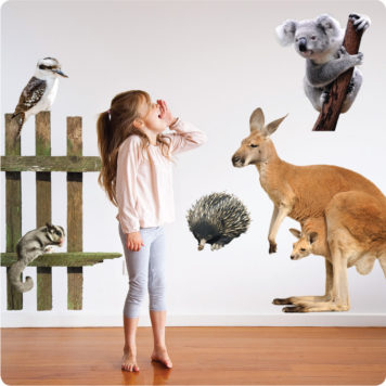 Australian animals removable wall stickers with a little girl yelling in front