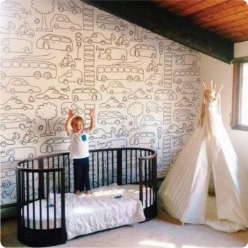Transport removable wallpaper Australia in a bedroom