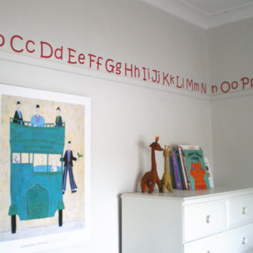 AaBbCc alphabet removable wall stickers decals in boy's room