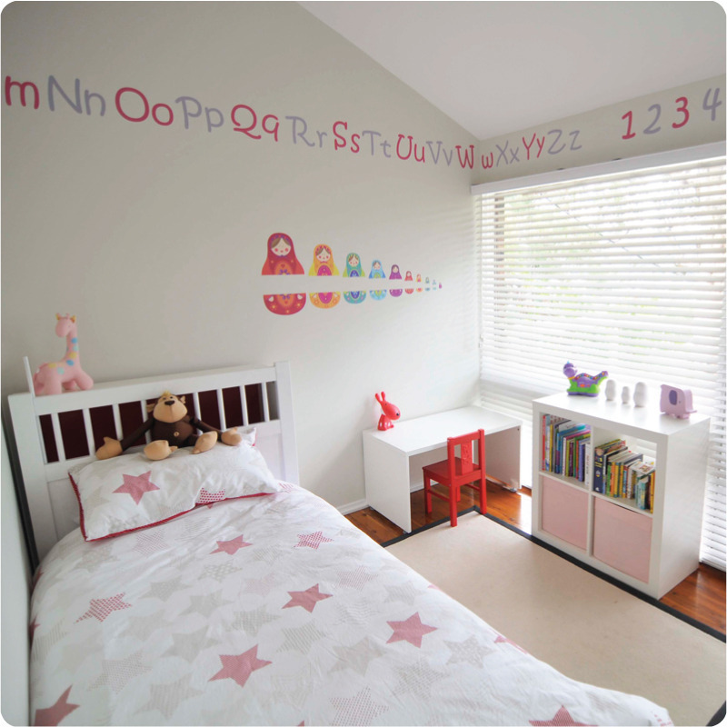 AaBbCc alphabet removable wall stickers decals in girl's room