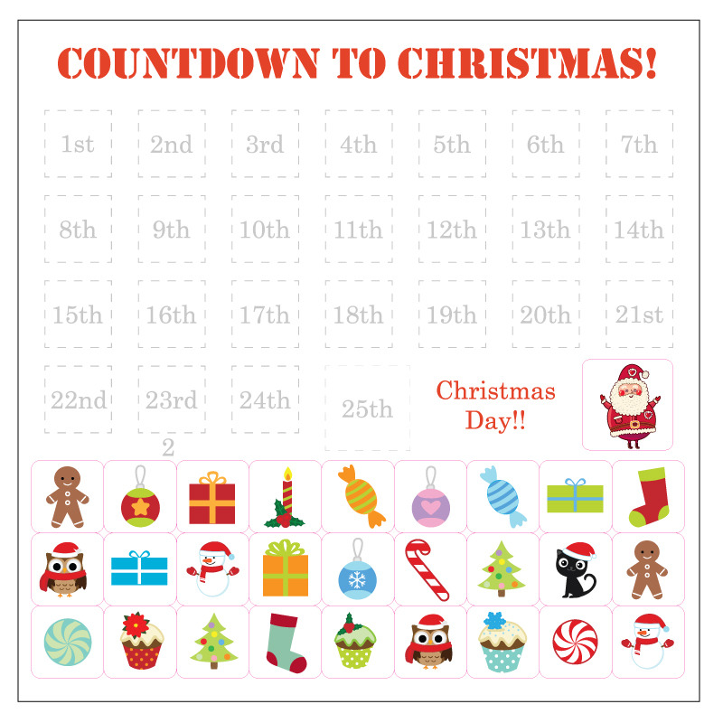 Advent Calendar removable wall stickers