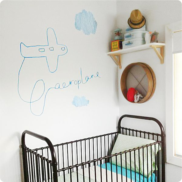 Aeroplane by Jane Reiseger removable wall stickers decals for boys room behind the crib
