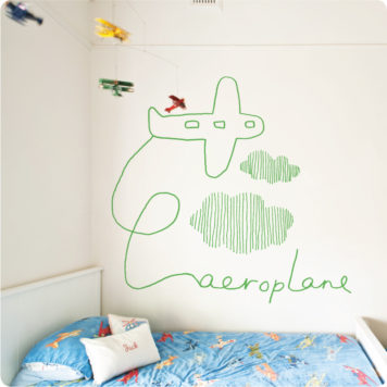 Aeroplane by Jane Reiseger removable wall stickers decals for boys room behind a bed