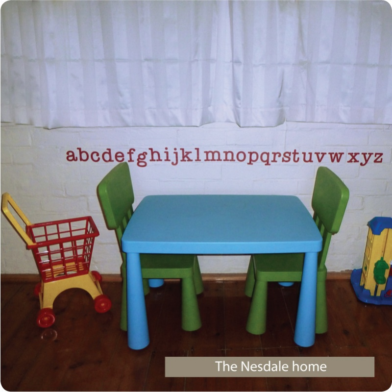 Alphabet removable wall stickers decals for kids room in the Nestdale home