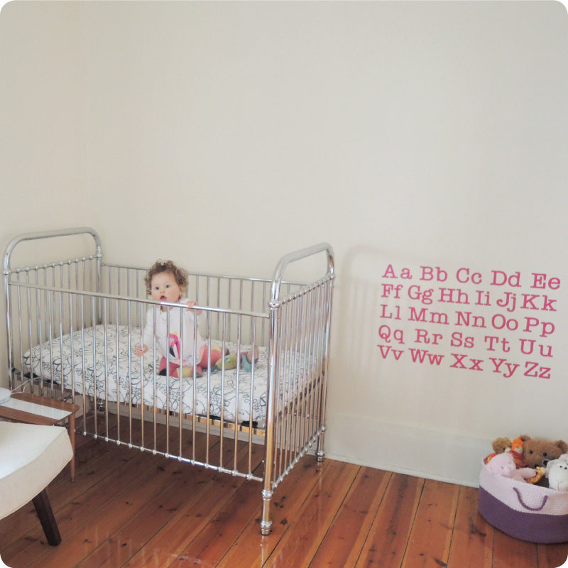 Alphabet removable wall stickers decals for kids room in the Kylie Hyde's home