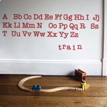 Alphabet removable wall stickers decals for kids room spelling train