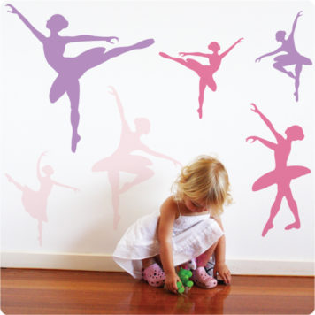 Ballet removable wall stickers with little girl playing in front