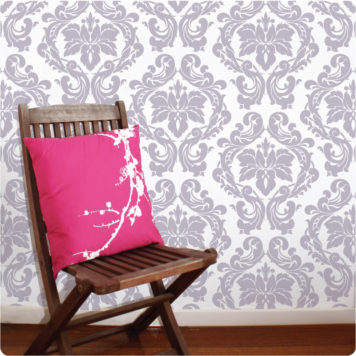 Damask removable wallpaper Australia in Baroque design behind a chair with pillow on it
