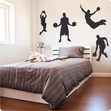 Basketball Guys removable wall sticker for boys room behind a bed