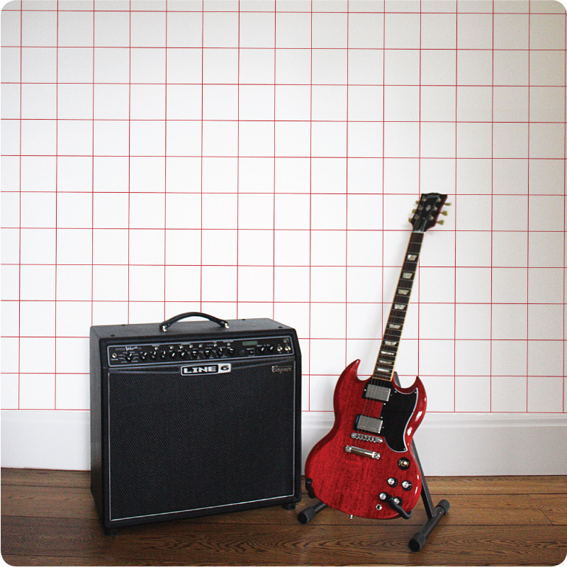 Grid removable wallpaper Australia Australia with electric guitar in front