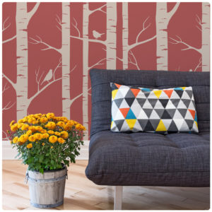 Birch removable wallpaper Australia by Ink and Spindle with sofa and pot in front