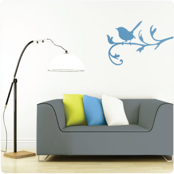 Blue wren removable wall sticker with sofa and floor lamp in front