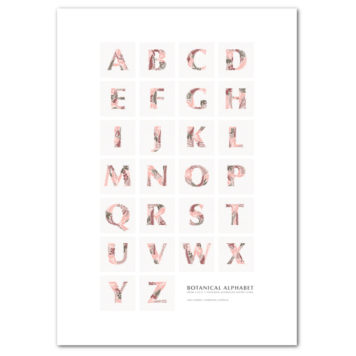 Botanical Alphabet Poster removable wall sticker in pink