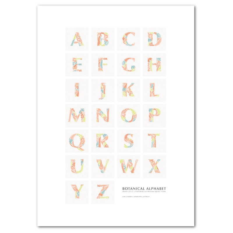 Botanical Alphabet Poster removable wall sticker in tutti fruitti