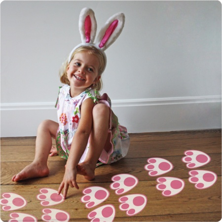 Bunny paws removable wall stickers stuck in the floor