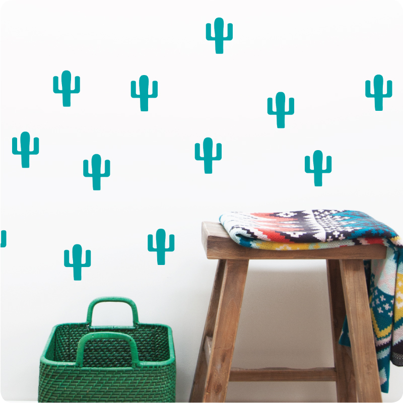 Cactus removable wall stickers with basket and wooden chair in front