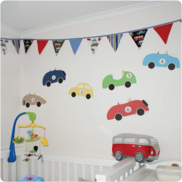 Cars removable wall stickers for boys rooms behind the crib