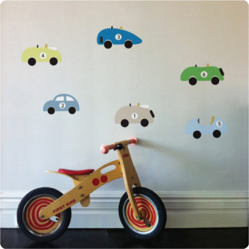Cars removable wall stickers for boys rooms with wooden bike in front