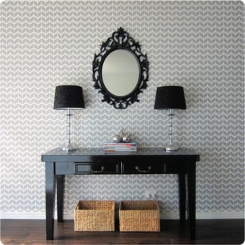 Herringbone removable wallpaper Australia Curio and Curio behind the cabinet with 2 lamp shades on top