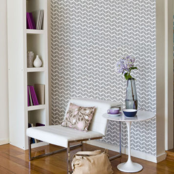 Herringbone removable wallpaper Australia Curio and Curio behind a chair and a round table
