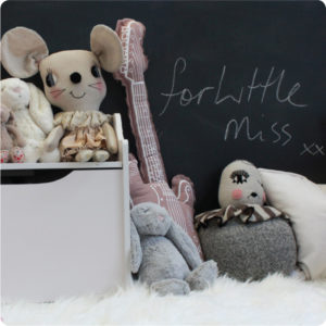 Play chalk board removable wall sticker with stuffed toys in front