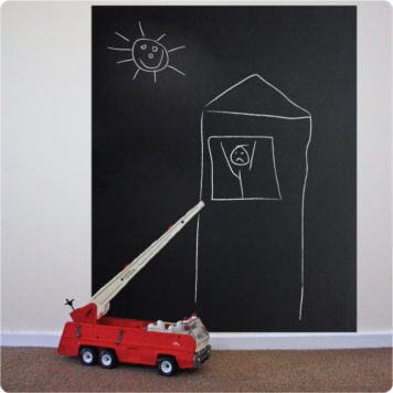 Cafe style permanent chalkboard removable wall stickers behind a toy