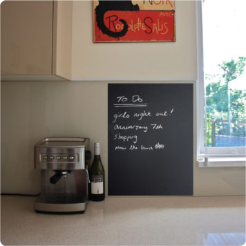 Organise chalkboard removable wall stickers in a kitchen