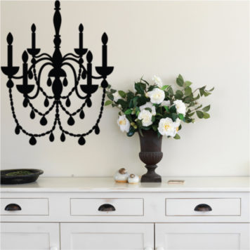 Chandelier removable wall sticker behind a cabinet