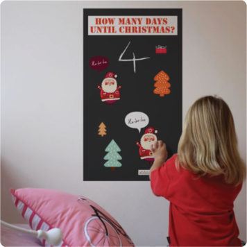 Christmas chalkboard countdown removable wall sticker with a little girl in front put stickers in the chalkboard