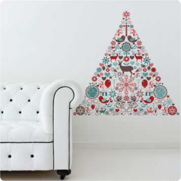 Christmas Icon Tree removable wall stickers behind a white couch